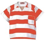 Shirt, Orange & White Stripe